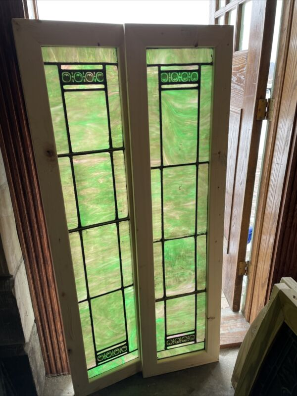 SG3641 Pair Antique Painted In Fired Transom Or Sidelights Windows 15 X 58 Each
