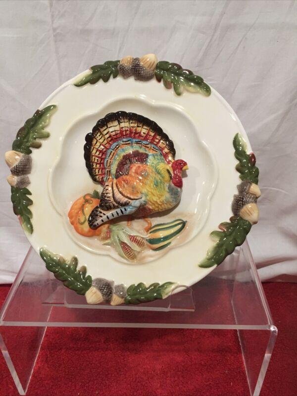 Fall Thanksgiving harvest Turkey 3D WALL HANGING BIRD PLATE CERAMIC 9