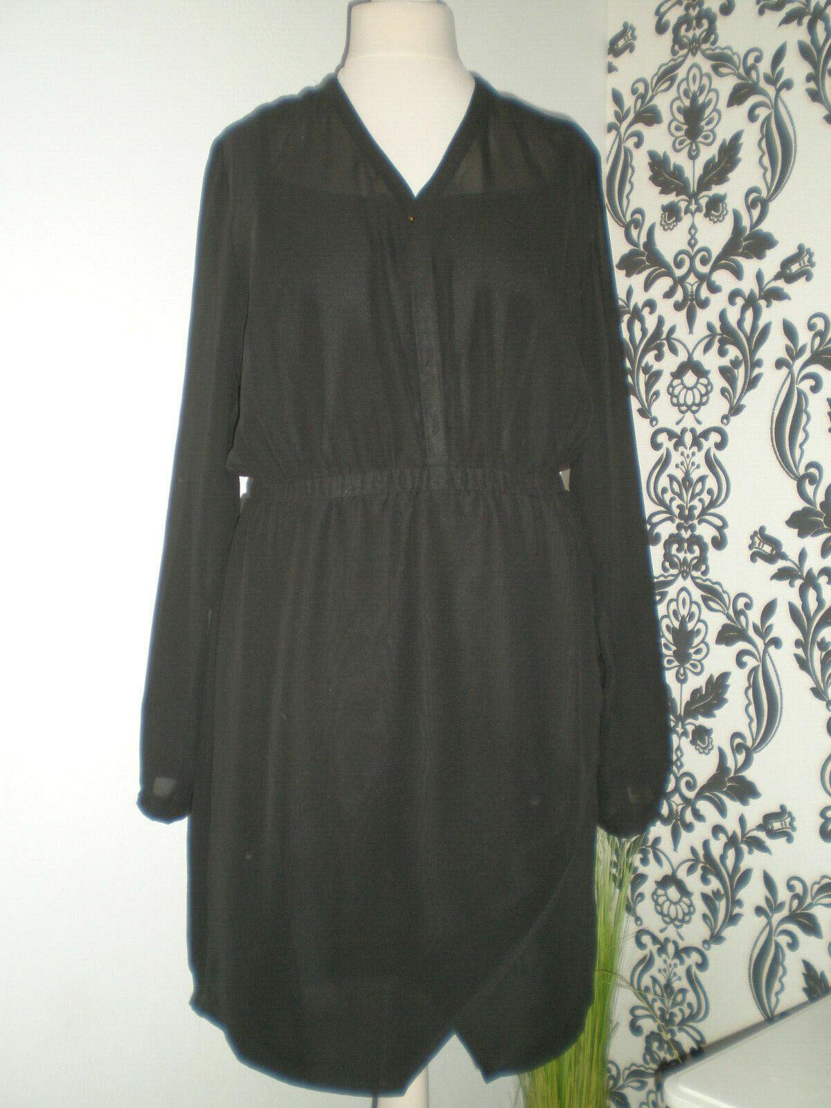 ZALANDO  Damen Kleid, Chiffon, mit Unterkleid, langarm schwarz Gr M