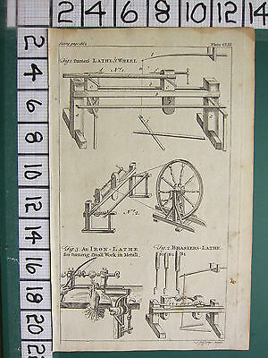 1754 ANTIQUE PRINT ~ LATHE WHEEL ~ BRASS & IRON TURNING SMALL WORK IN METAL