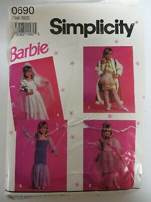 Kids Play Dress Up Clothes (Vtg Simplicity 0690 CHILD'S BARBIE DRESS-UP CLOTHES PRETEND PLAY Sewing)