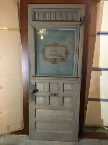 antique frosted, etched glass door/ commemorative Spanish American war door