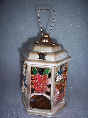 Very Nice Christmas Poinsettia Snowman Candle Holder Lantern 7 tall