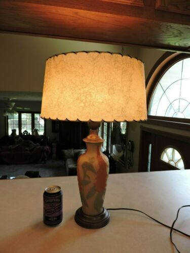Vtg Antique Old Satin Custard Glass Turquoise Table Lamp Phoenix Consolidated