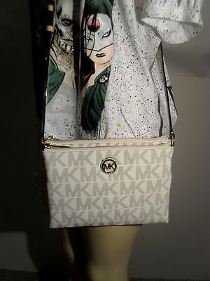 NWT Michael Kors Vanilla Fulton Large EW Crossbody PVC Handbag MK Signature Bag