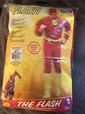 Rubies The Flash Costume w/ Muscle Chest Adult Halloween