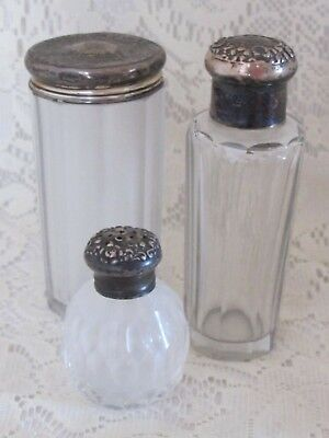 Silber Lose Puder (Los 3 Sterlingsilber Glas Scent Flasche Kommode Eitelkeit Puder Parfüm &)