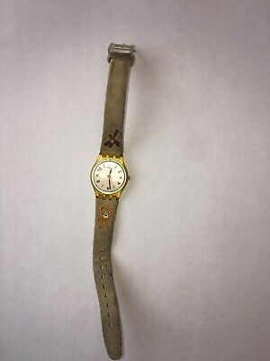 SWATCH CHILD'S WATCH LEATHER BAND W/TEDDY BEAR & DEER AG 2006 (H650)