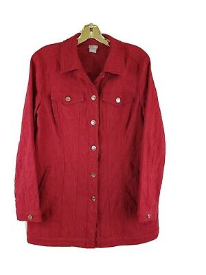 Chico's Womens Jean Jacket Size 1 (Medium) Red Denim