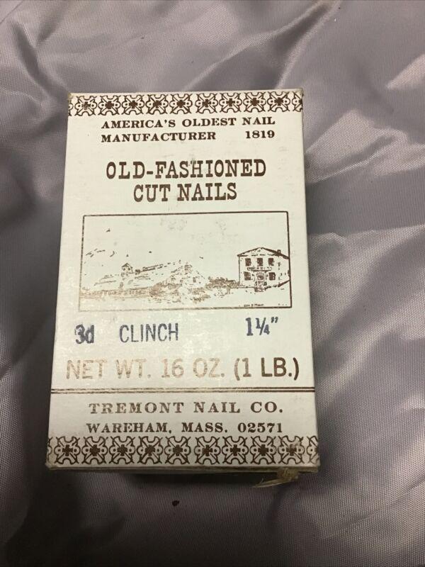 "Vintage 1 Pound Boxes of 1 1/4 "" Fine Finish 7D Cut Nails Tremont Nail Co"