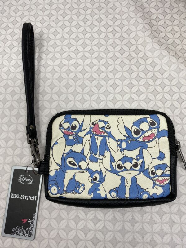 Disney X Loungefly Stitch all over pint Faces Wristlet Bag coin Pouch
