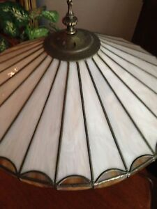 Stained glass and bronze table lamp