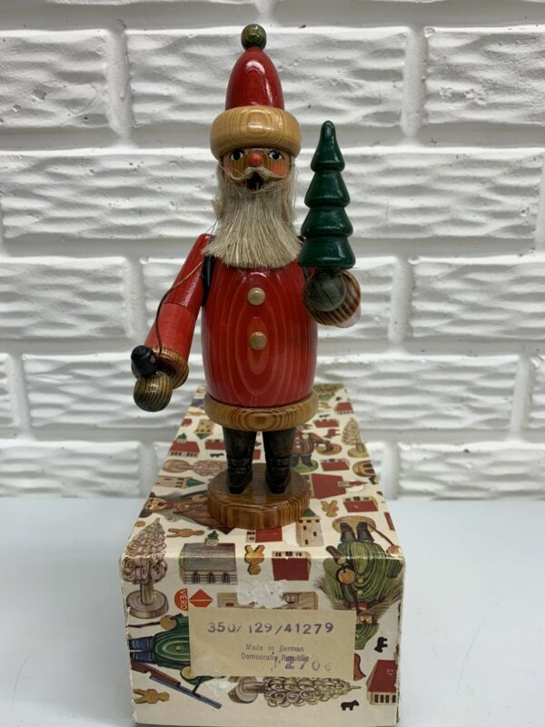 "Vintage Wooden Erzgebirge 9""Santa Smoker with Box German Democratic Republic"