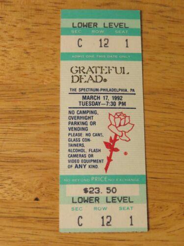 UNUSED GRATEFUL DEAD March 17, 1992 THE SPECTRUM PA Concert Ticket JERRY GARCIA