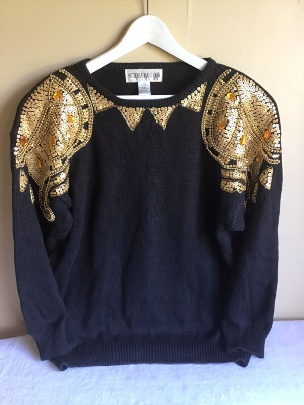 Vintage Victoria Harbour Womens Black Gold Beaded Sequin Long Sleeve Sweater Med