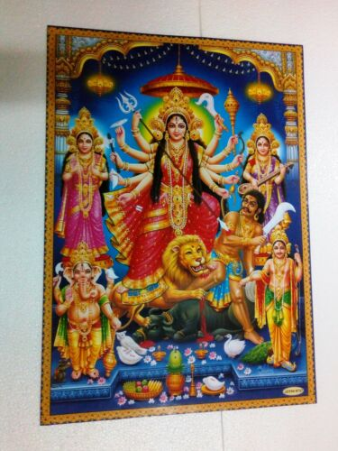 """Maa Durga Poster Picture Hindu God Devi puja pray India Lovely 26""""19"""" HUGE"""