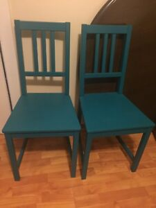 Two Teal Dining Chairs