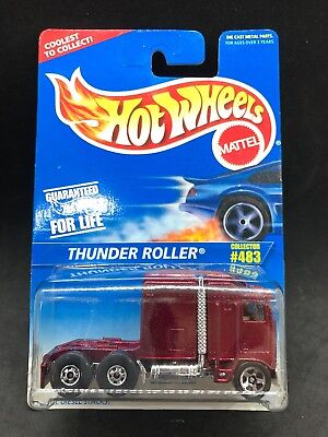 Hot Wheels 1996 Thunder Roller Semi Truck Maroon Rare HTF New Die Cast