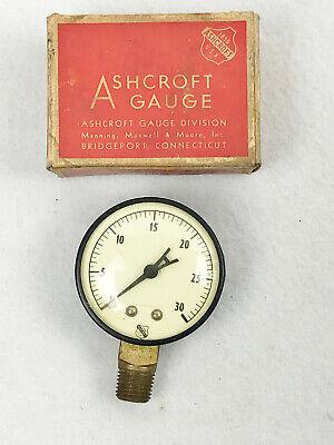 Vintage Ashcroft Gauge - 0-30 - 2 18 Diameter - No. 1650 - Untested