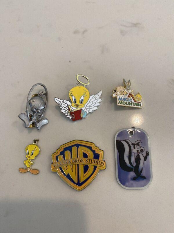 Vintage WARNER BROS Tweety Bird Figural Pewter Brooch Pin charm magnet Lot 6