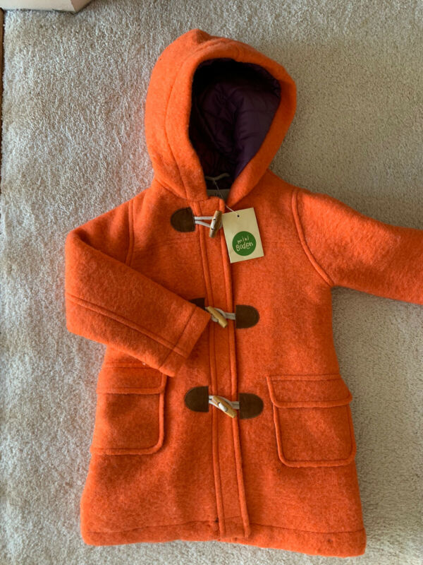 NWT Mini Boden Girls Wool Coat Size 2-3 Peacoat Toggle Hooded Jacket Orange