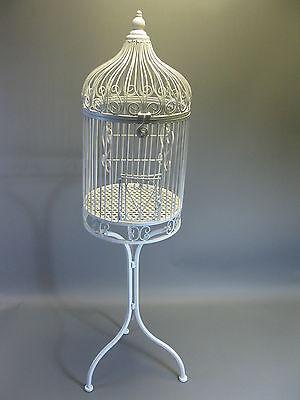 Nostalgie Metall Vogelkäfig Käfig mit Ständer Deko Dekoration 135 cm weiß