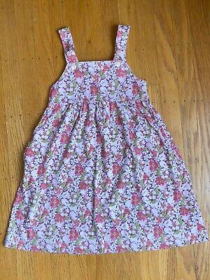 LANDS' END girls Tank Dress Size 5 Floral Multicolor Pink