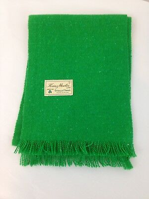 Kevin & Howlin Dublin Ireland Kelly Green Donegal Tweed Fringed Wool Scarf