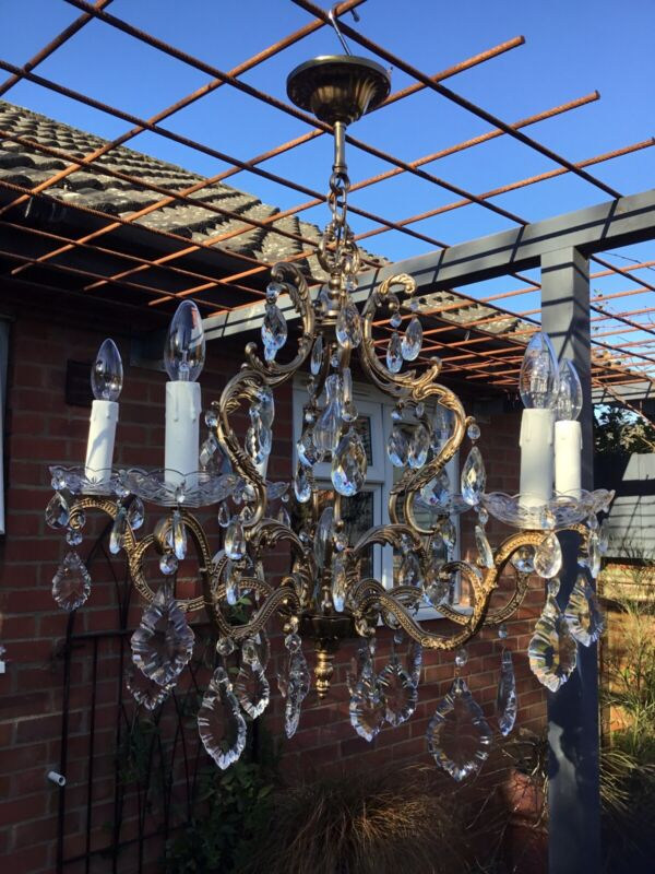 Magnificent  Vintage French Gilt  Baroque Rococo  6 Arm Crystal Chandelier