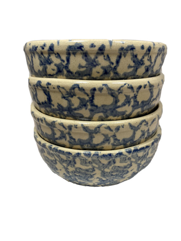 Roseville  Robinson Ramsbottom Pottery Blue Spongeware Soup Chili Bowls Set of 4
