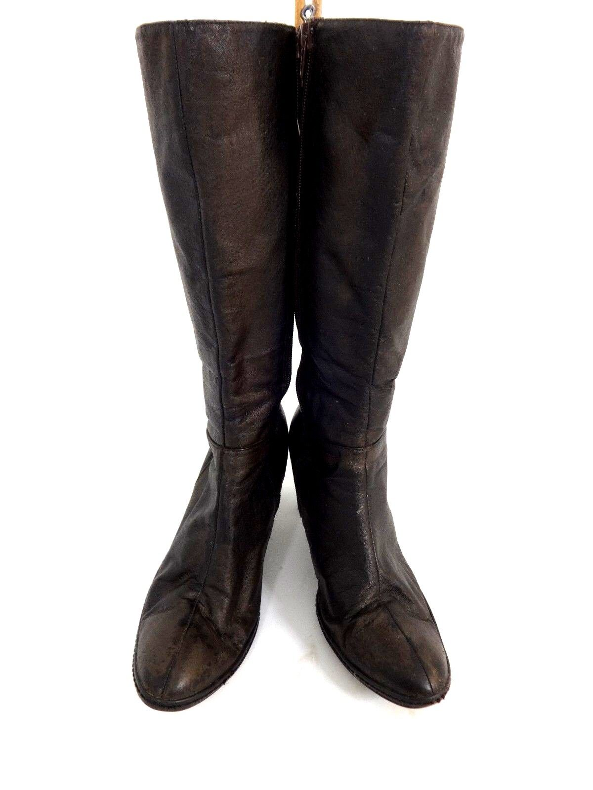 newport womens brown zip side distressed leather boots