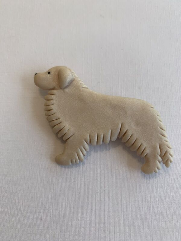 Great Pyrenees Dog Pin Handmade By Artist Signed  Clay