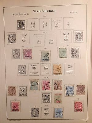 RARE Page Australia Straits Settlements 1886-99 Queen Victoria Stamps
