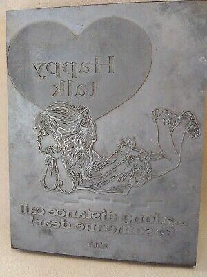 Vintage Metal On Wood Letterpress Printing Plate Ohio Bell Ad 10x8x1