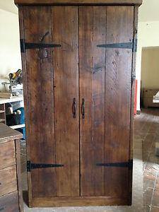 HandMade Chunky Rustic Reclaimed Wood Plank Double Wardrobe Warm Oak Finish