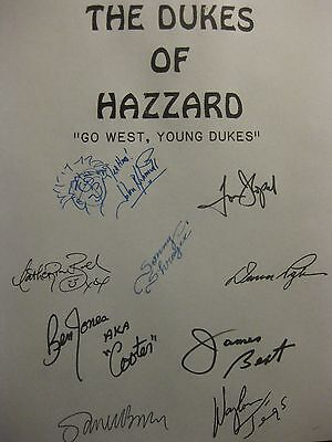 Dukes of Hazzard Signed TV Script Tom Wopat John Schneider Jennings Go West rpnt