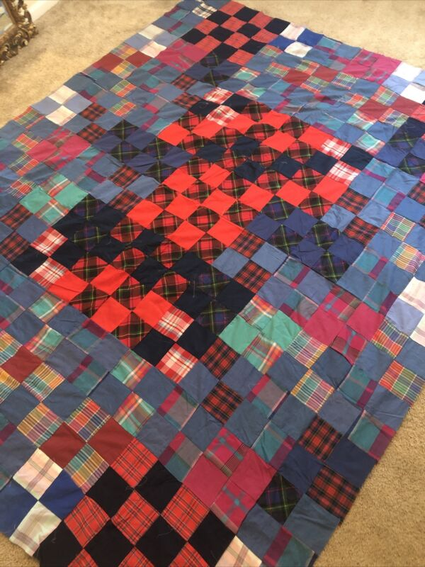 """LARGE  Multi Color Patchwork Quilt Top 84""""x 99"""" Cotton"""