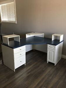 Blue Arborite Corner desk with white shelving $200 OBO