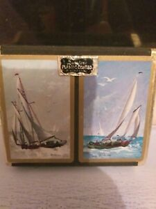 VIntage sailing playing cards twin set   Comes in cardboard felt cas