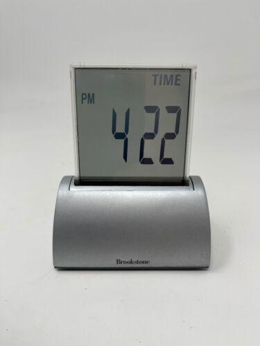 "BROOKSTONE 4"" Touchscreen SILVER Die-cast Clock  time, temperature, date & timer"
