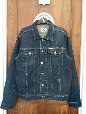 Excellent cond, Vintage Retro Calvin Klein Denim Jacket Navy Blue - UK Medium