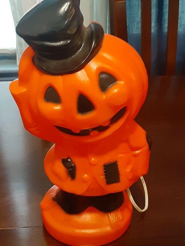 """Vintage 1969 Empire Plastic Halloween Blow Mold Pumpkin w/ Top Hat 14"""""""