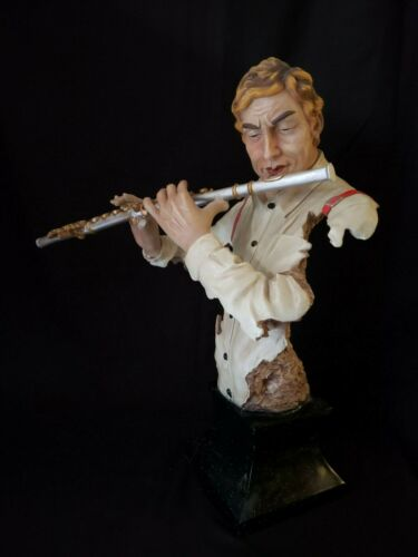 """Jazz Band Collection - FLUTE PLAYER 24"""" Bust Statue Sculpture"""