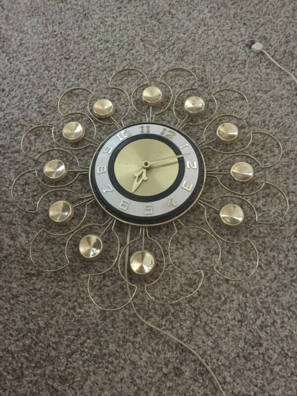 Vintage Mid Century Robert Shaw Control Co. Clock - Gold Toned Starburst Style