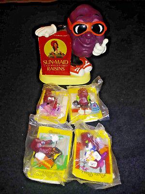 Sun Maid California Raisins (VINTAGE 1987 SUN-MAID CALIFORNIA RAISINS COIN BANK PIGGY BANK & 4 FIGURINES,)