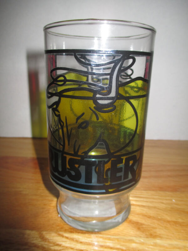 "Vintage RUSTLER ROOT BEER ""Stain Glass"" 6.5"" GLASS"