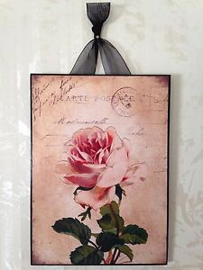 Vintage French Rose Plaque Wall Decor Sign Country Chic Paris EBay