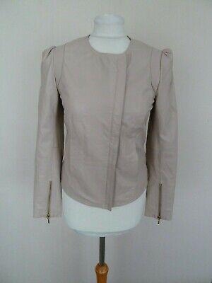 FAB Hoss Intropia Nude Blush Pink 100% Lambs Leather Jacket Size 38 UK 8 10 VGC