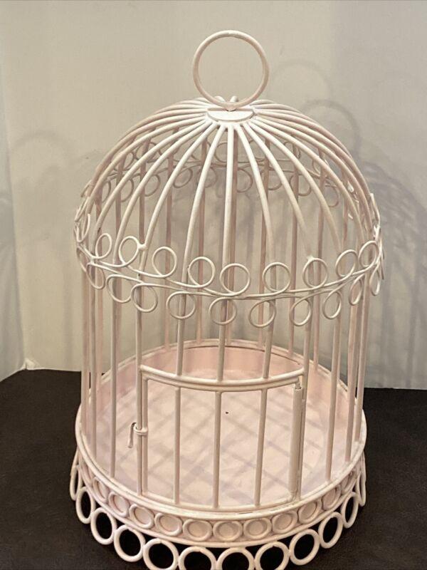 Restoration Hardware Baby & Child Decorative Pastel Pink Metal Bird Cage