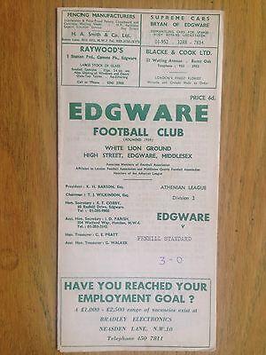 Edgware v Penhill Standard 1970/71 London Senior Cup programme